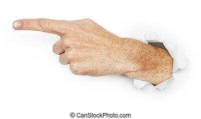 indica, direção, mão homem