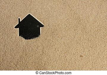indicador, casa, en la arena