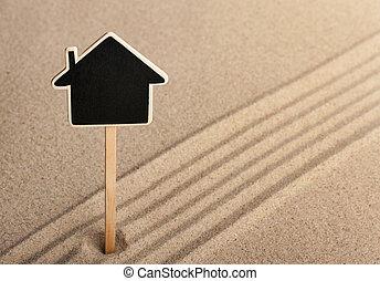 indicador, casa, posición, en la arena