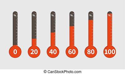indicador, conjunto, temperatura, temperatura, porcentajes, clima, niveles, diferente, vector, medida, thermometer., escala, progreso, porcentaje