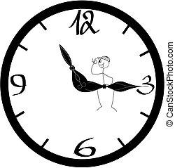 indicador, figura, sentando, /, partir, almoço, vara, tendo
