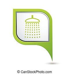 indicador, icono, ducha, mapa verde