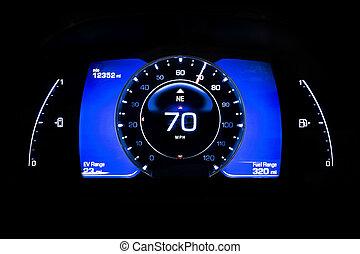 indicador, kilometraje, batería, luz, moderno, mph, negro,...