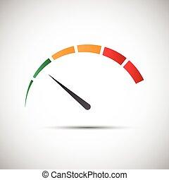 indicador, simple, símbolo, parte, tacómetro, vector, verde,...