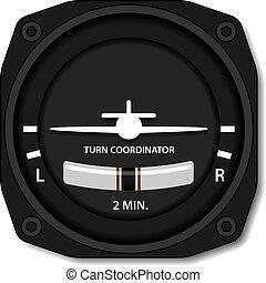 indicador, volta, vetorial, aviação, avião, equilíbrio
