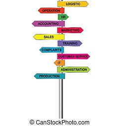 indicadores, compañía, coloreado, departamentos