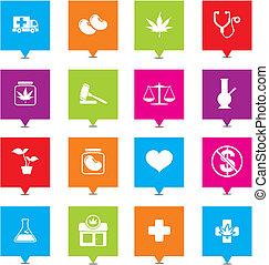 indicadores, cuadrado, médico, marijuana