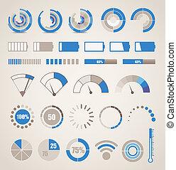 indicadores, diferente, colección