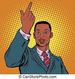 indicare, americano, dito, africano, uomo affari