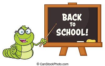 indicare, carattere, verme, cartone animato, libro, lavagna, insegnante, occhiali