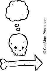 indicare, cartone animato, freccia, cranio