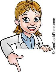 indicare, cartone animato, scienziato, carattere, segno