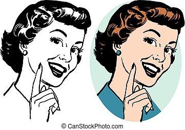 indicare, donna sorridente