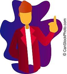 indicare, dottore, cappotto, carattere, su, illustrazione, vettore, dito, fondo, bianco rosso