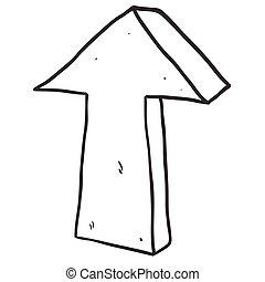 indicare, freccia nera, freehand, disegnato, bianco, cartone animato
