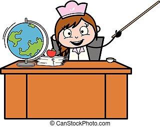 indicare, -, illustrazione, chef, vettore, bastone, femmina, cartone animato, cameriera, retro