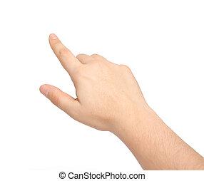 indicare, isolato, mano, toccante, qualcosa, maschio, o