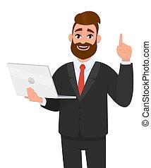 indicare, laptop, moderno, numero, tecnologia informatica, holding/showing, stile di vita, giovane, dito, digitale, affari nuovi, marca, tendenza, gadget., gesturing/showing, congegno, mano, uomo, su, finger., o, recentissimo
