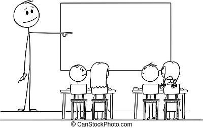 indicare mano, aula, whiteboard, cartone animato, insegnante, vuoto, illustrazione, vettore, pennarello
