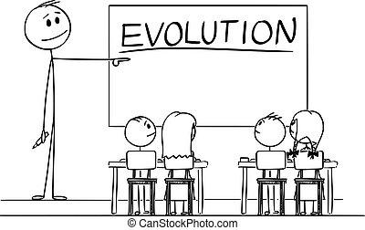 indicare mano, evoluzione, aula, whiteboard, cartone animato, insegnante, illustrazione, vettore, pennarello, parola