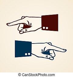 indicare mano, icona