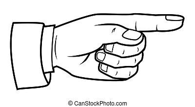 indicare, mano