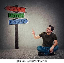 indicare, pavimento, signpost, seduta, frecce, futuro, passato, indice, uomo, presente, mostra