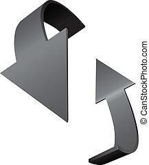 indicare, rotazione, frecce