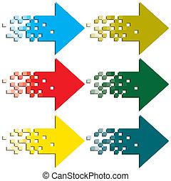 indicate., flèches, multi-coloré