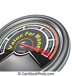 indicateur, argent, valeur, vecteur, mètre, conceptuel