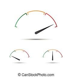 indicateur, ensemble, simple, symbole, partie, jaune, tachymètre, vecteur, vert, mesure, icône, performance, compteur vitesse, rouges