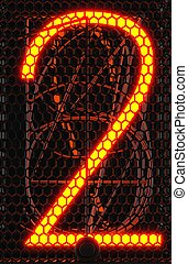 indicateur, indicateur, tube, deux, nixie, nombre, rendre, lampe, retro., close-up., gas-discharge, 3d