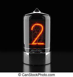 indicateur, indicateur, tube, rendering., nombre, nixie, deux, sombre, arrière-plan., lampe, retro., gas-discharge, 3d