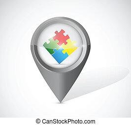 indicateur, puzzle, conception, illustration, morceaux