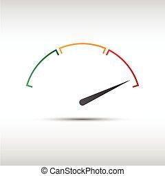 indicateur, simple, symbole, partie, tachymètre, vecteur, mesure, icône, performance, compteur vitesse, rouges
