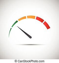 indicateur, simple, symbole, partie, tachymètre, vecteur, vert, mesure, icône, performance, compteur vitesse