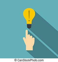 indicateur, style, doigt, icône, ampoule, lumière, plat