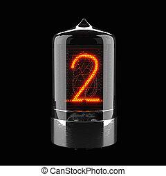 indicateur, tube, rendering., nombre, nixie, isolé, deux, retro., black., 3d