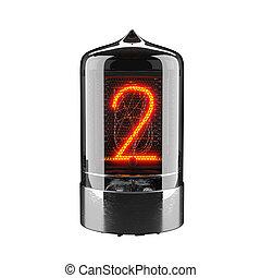indicateur, tube, rendering., nombre, nixie, isolé, white., retro., deux, 3d