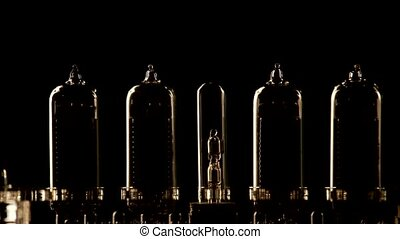 indicateur, tube, style, nixie, retro, nombres