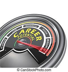 indicator, carrière, meter, vector, conceptueel, potentieel