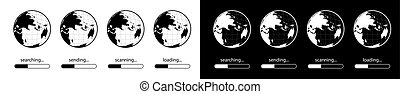 Indicator of loading, sending, scanning, searching the Internet. Information on the world wide web. Data security. Set of icons. Black and white vector