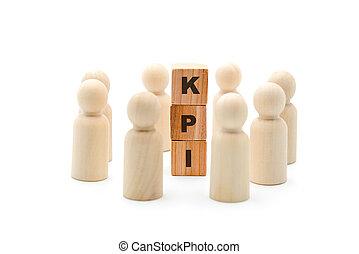 indicator, ongeveer, zakelijk, kpi, houten, acroniem, figuren, klee, team, opvoering, cirkel