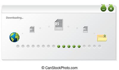 indicator, venster, ontwerp, bestand, downloaden, voortgang