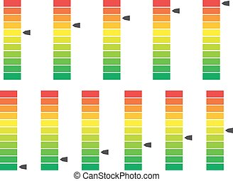 indicatore, livello, colorare, vettore, messo in codice, ...