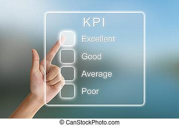 indicatore, schermo, spinta, virtuale, mano, chiave, esecuzione, kpi, o