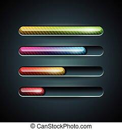 indicatore, set, scuro, fondo., vettore, progresso, baluginante