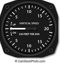 indicatore, verticale, variometer, vettore, aviazione,...