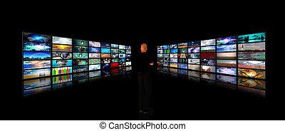 indicatore, video, mostre, uomo