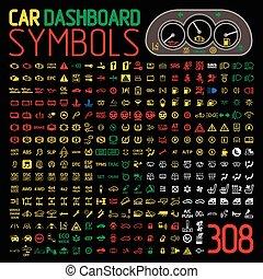 indicatori, automobile, pannello, vettore, collezione, cruscotto, luci, avvertimento